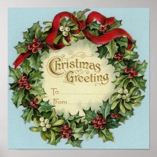Customizable Vintage Christmas Greeting Print