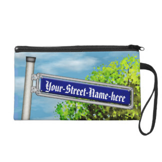 Customizable vintage German street sign - Wristlet Clutches
