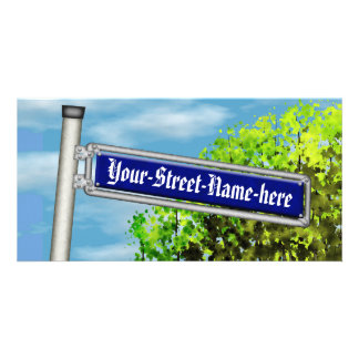 Customizable vintage German street sign - Photo Greeting Card