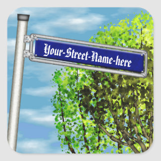 Customizable vintage German street sign - Square Sticker