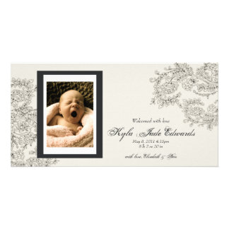 Customizable Vintage Inspired Birth Announcement Photo Greeting Card
