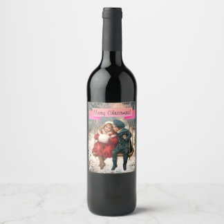 Customizable, Vintage Merry Christmas wine label. Wine Label