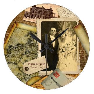 Customizable Vintage Paper Frame Photo Collage Large Clock