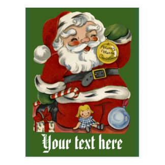 Customizable Vintage Santa Claus Cards Postcard