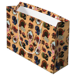Customizable Vintage Thanksgiving Turkeys Large Gift Bag