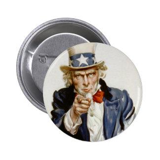 Customizable Vintage Uncle  Sam 6 Cm Round Badge