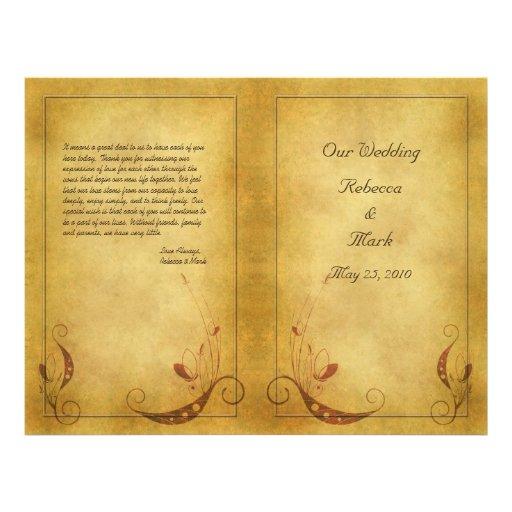 Customizable Vintage Wedding Program Flyer Design