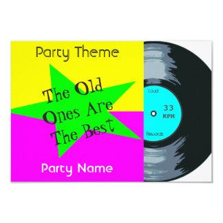 Customizable Vinyl Record Party Card