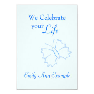 Customizable Wake / (Living) Funeral -- Butterfly 13 Cm X 18 Cm Invitation Card