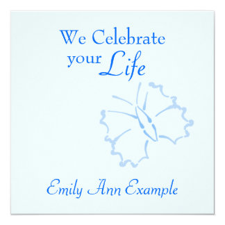 Customizable Wake / (Living) Funeral -- Butterfly 13 Cm X 13 Cm Square Invitation Card
