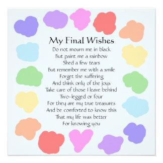 Customizable Wake / Memorial -- Rainbow Poem Personalized Invite