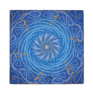 Customizable Water (Psychedelic spirograph) Wood Coaster