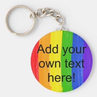 Customizable Watercolor Rainbow Key Ring