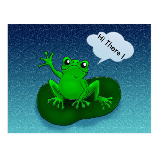 Customizable waving frog floating on a leaf postcard