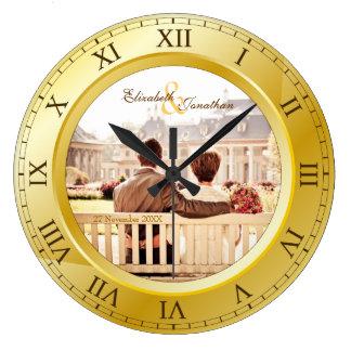 Customizable Wedding Anniversary Gold Roman Photo Wall Clocks