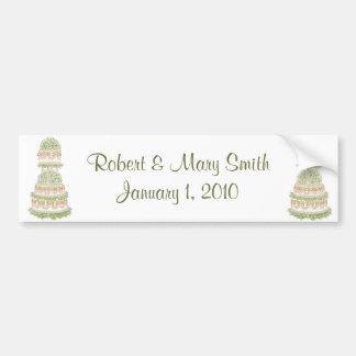 Customizable Wedding Cake Bumper Sticker