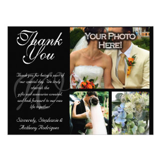 Customizable Wedding Thank You 3 Photo Flat Card