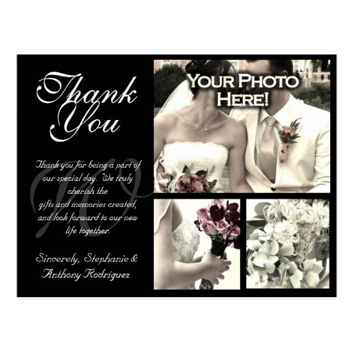 Customizable Wedding Thank You Card 3 Photos Post Cards