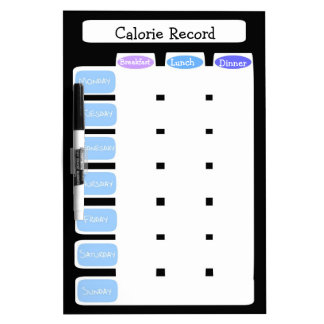 Customizable weekly calorie counting chart, 3 meal dry erase whiteboards