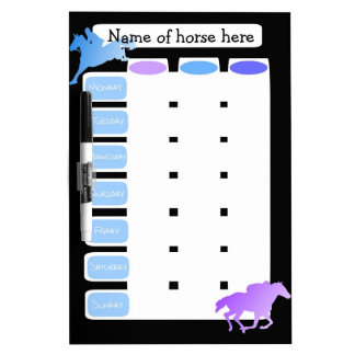 Customizable weekly Horse riding, grooming planner Dry Erase Boards