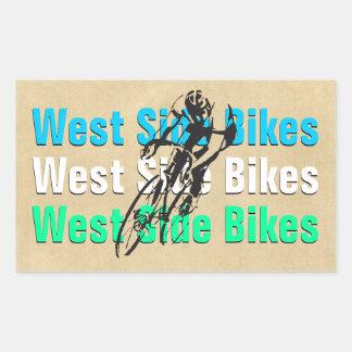"Customizable ""West Side Bikes"" Rectangular Stickers"