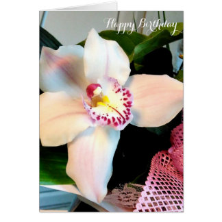 Customizable White Cymbidium Orchid Birthday Card