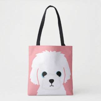 Customizable WHITE DOG Tote Bag
