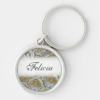 Customizable white gardenia flowers keychain