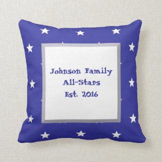 Customizable White Stars on Blue Throw Pillow