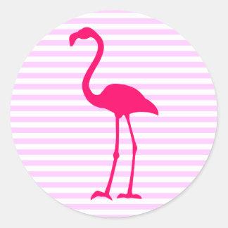 Customizable White Stripes Hot Pink Flamingo Classic Round Sticker