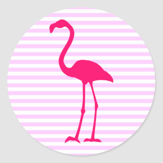 Customizable White Stripes Hot Pink Flamingo Round Sticker