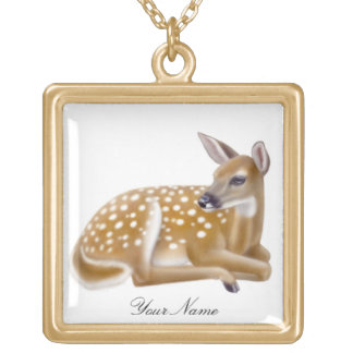 Customizable Whitetail Deer Fawn Necklace