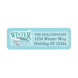 Customizable WINTER Address Label     Blue, White