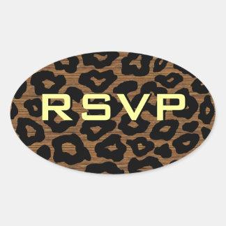 Customizable Wood Leopard Oval Sticker