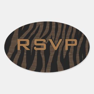 Customizable Wood Zebra Oval Sticker