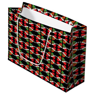 Customizable Xmas Santa Sugar Skulls Large Gift Bag