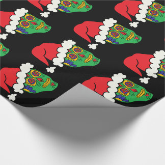 Customizable Xmas Santa Sugar Skulls Wrapping Paper
