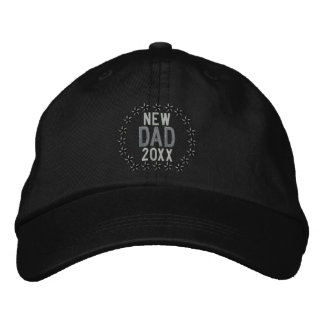 Customizable YEAR for New Dad Stars Embroidery Embroidered Hat
