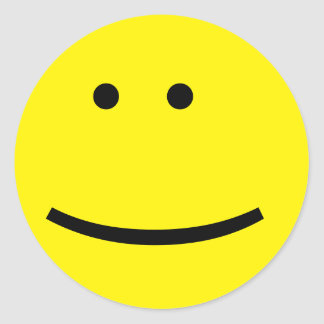Customizable Yellow Emoticon Face Round Sticker
