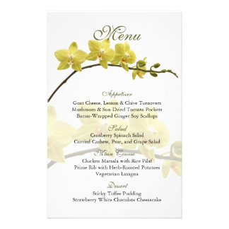 Customizable Yellow Orchids Wedding Menu Card Flyers