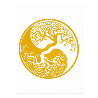 Customizable Yellow Tree of Life Yin Yang Postcard