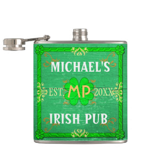 Customizable Your Name Irish Pub Green Hip Flask