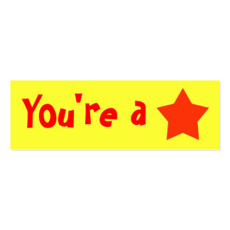 "Customizable ""You're A Star"" Mini Bookmarker Pack Of Skinny Business Cards"