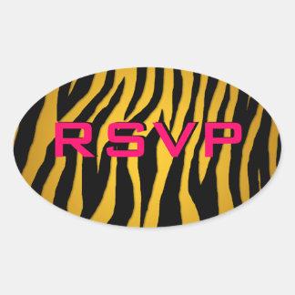 Customizable Zebra Oval Sticker