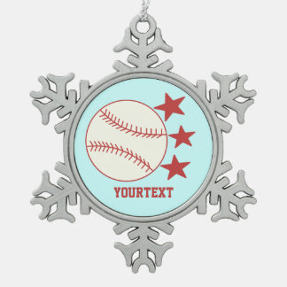 CUSTOMIZE Baseball -- Personalize Text Pewter Snowflake Decoration