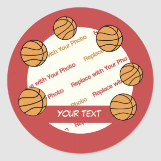 CUSTOMIZE Basketball -- Personalize Photo and Text Round Sticker