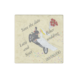 Customize Biker wedding Magnets Stone Magnet