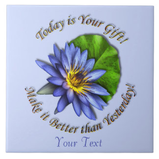 Customize Blue Floral Lotus Water Lily Flower Large Square Tile