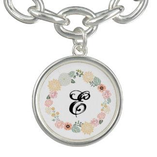 Customize bracelet floral wreath charm & initial