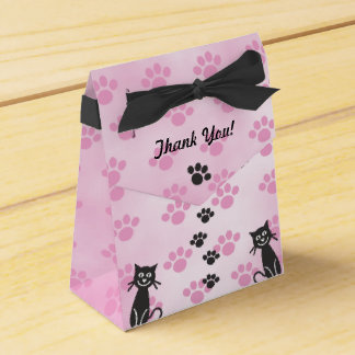 Customize Cat Pink Black Paw Prints Favour Box